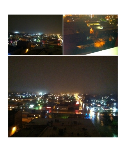Rainy night rooftop views of my home away from home.